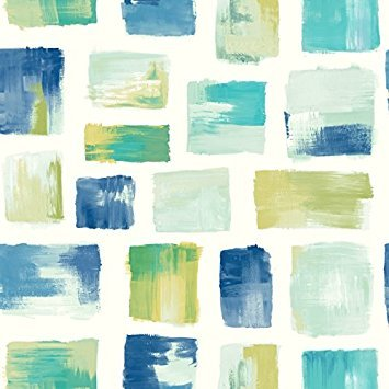 York Wallcoverings RY2733 Risky Business 2 Burano Removable Wallpaper, Blue/Green/White