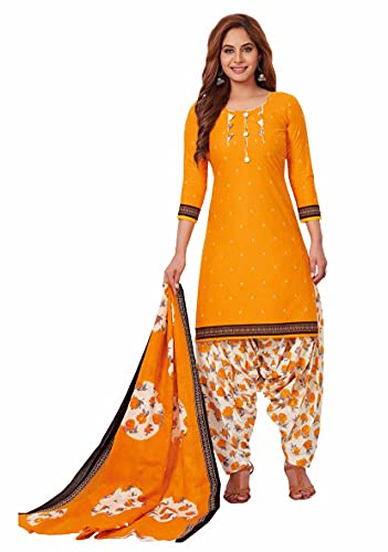 Miraan Women Cotton Unstitched Dress Material (BANDCOL802, Yellow, Free Size)