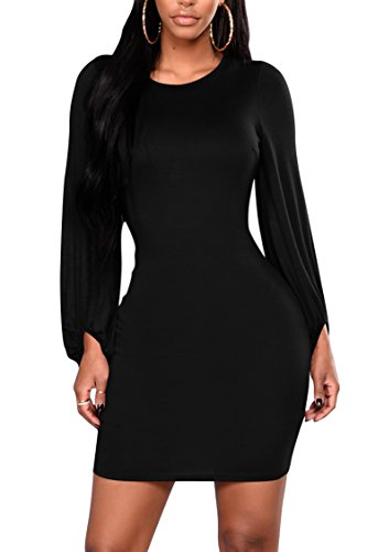 Pink Queen Women's Elastic Sleeve Closure Open Back With Tie Ruched Dress Black XL ()