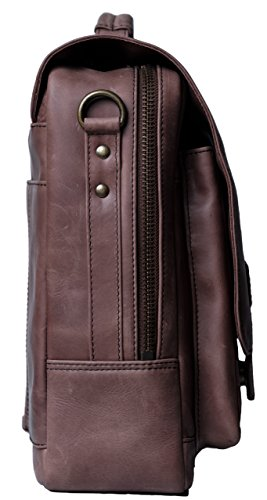 Genuine Leather Messenger Laptop Bag/Briefcase for Men, LOGAN, fits 15.4 inch Laptop, adjustable strap, 16 inch by 12 inch by 4 inch (Chestnut) by Ladderback by Ladderback (Image #3)