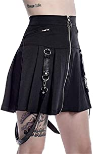 CrazycatZ Womens Skater Skirt Gothic Flared Mini Pleated Suspender Skirt