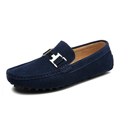 Cuero Zapatos Mocasines Hombres Gamuza Slip CóModos Zapatos Hombres Mocasines Casual Y De De Zapatos Transpirables Vaca Blue5211 En ConduccióN Cuero AggwIpq