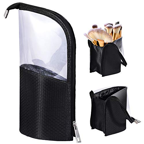 Travel Make-up Brush Cup Holder Organizer Bag, Pencil Pen Case for Desk, Clear Plastic Cosmetic Zipper Pouch, Portable Waterproof Dust-Free Stand-Up Small Toiletry Stationery Bag with Divider, ()