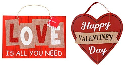 Gift Set HBP Valentine's Day for Her Room Decoration Wall Plaque Classroom (1) Valentines Wooden Heart Decorations (1) Burlap Love Wall Signs
