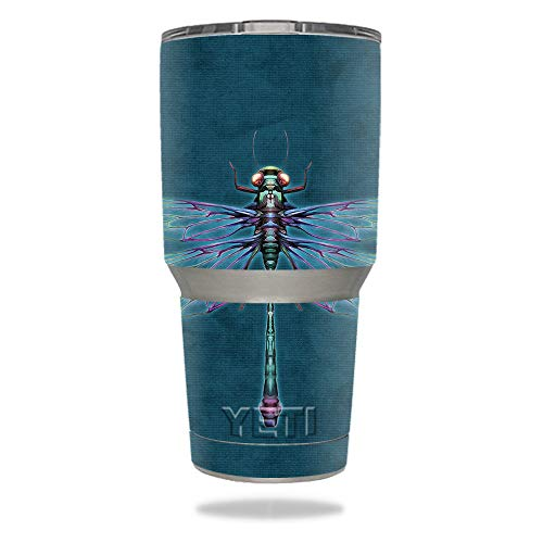 MightySkins Skin Compatible with YETI 30 oz Tumbler - Vibrant Dragonfly | Protective, Durable, and Unique Vinyl Decal wrap Cover | Easy to Apply, Remove, and Change Styles | Made in The USA