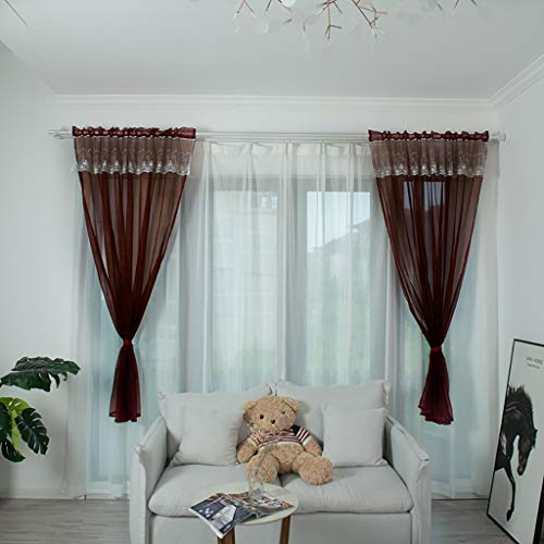 Yucode Sheer Curtains for Living Room Long Bedroom Sheer Curtain Panels Rod Pocket Voile Window Curtain Set