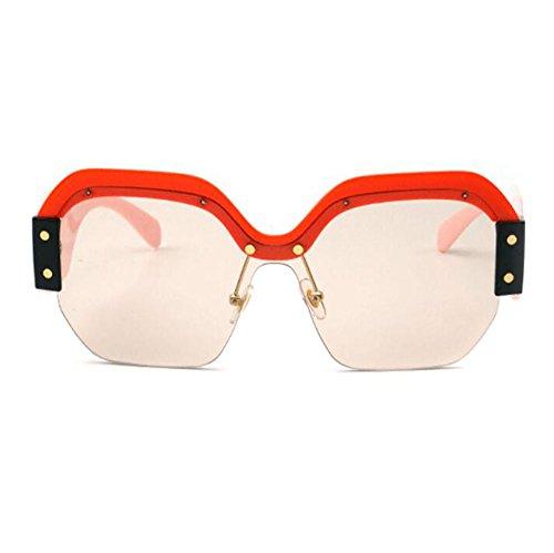 señora Marco la gran cuadradas sol no de Gafas de Claro plástico vendimia retra de de la tamaño la de lente polarizadas Marrón xgfWqqPU