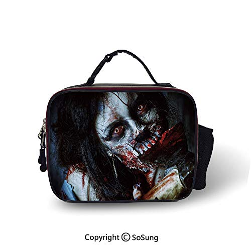 Zombie Decor Lunch Bags For Women&Men Scary Dead Woman with Bloody Axe Evil Fantasy Gothic Mystery Halloween Picture Lunch Cooler Tote,10.6x8.3x3.5 inch,Multicolor