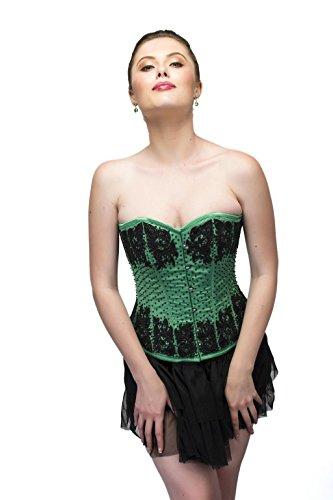 蒸し器休み発行するGreen Satin Black Sequins Gothic Burlesque Waist Cincher Bustier Overbust Corset