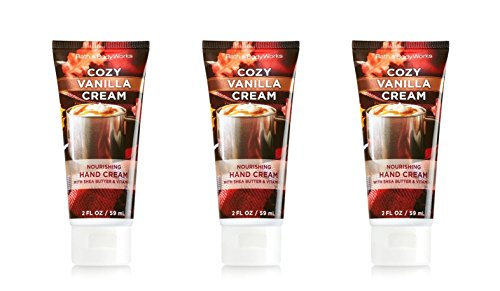 Lot of 3 Bath and Body Works Cozy Vanilla Cream Nourishing Hand Cream 2 Ounce Each Whipped Frosting, Sweet Cream and Vanilla (Whipped Body Frosting)
