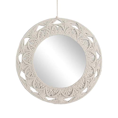rowna Hand-Made Cotton Rope Round Wall Hanging Mirror for Living Room Bedroom -