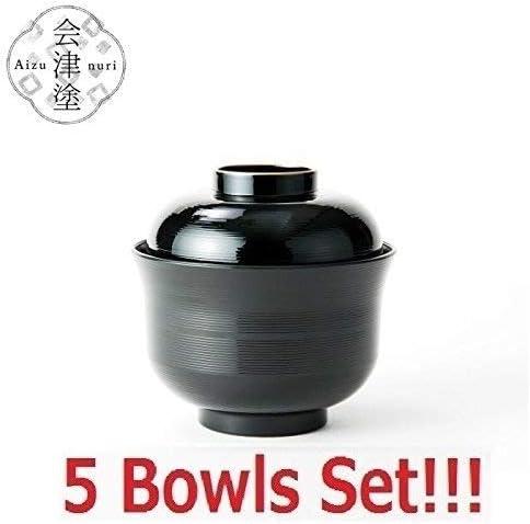 5 Bowls Set Asahi Kyouyou Japanese Black Bowls With Lid Set for Rice,Soup etc...