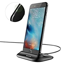 iphone Charging Stand, Hizek Lightning Charging Dock Charger Stand Cradle Smartphone Holder for iPhone 7/7Plus/6s/6sPlus/6/5/SE(Black)