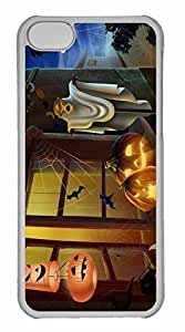 iPhone 5C Case, Personalized Custom Spooky House Bats Scary Pumpkin Spider Web Hallowmas Halloween for iPhone 5C PC Clear Case