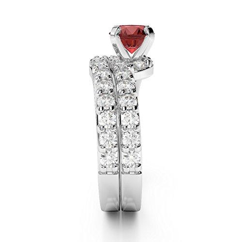 Or blanc 18carats 1CT G-H/VS sertie de diamants ronds Cut Grenat et mariée Bague de fiançailles et ensemble de Agdr-2003