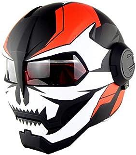 TYX HZL Vélo Casque Moto Plein Visage Casque rétro Style Harley Apparence Casque Orange Vif,X