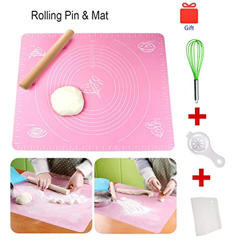 Non-Stick Rolling Pin &Large Silicone Pastry Mat Silicone Baking Mat for Pastry Rolling with Measurements Pastry Rolling Mat, Reusable (One set)