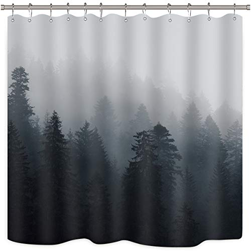 Riyidecor Forest Nature Shower Curtain Set Trees Fog Pine Rustic Landscape Black Gray Art Printed Fabric Waterproof Bathtub Decor 12 Pack Plastic Shower Hooks 72x72 Inch (Nature Trees Shower Curtains)