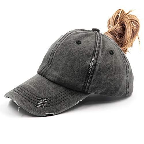 (Ponytail Vintage Cap Dad Hat Low Profile Unconstructed Messy High Bun Hat Ponycaps Distressed Black)