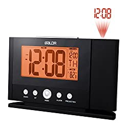 BALDR Digital Projection Alarm Clock Dimmable New Improved Time Projector on the ceiling or wall with LCD Time Calendar Temperature Display bedside clock desk clock for Bedroom, Baby room, Living roo