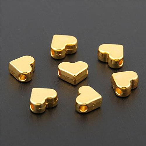 30PCS Silver/Gold Heart European Small Hole Spacer Beads Fits DIY Handmade Charms Bracelets Accessories ()