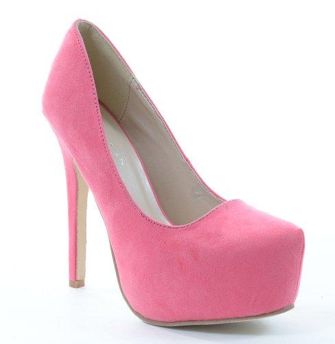 Faux Suede Almond Toe Plataforma Stiletto Pumps Negro O Rosa Rosa
