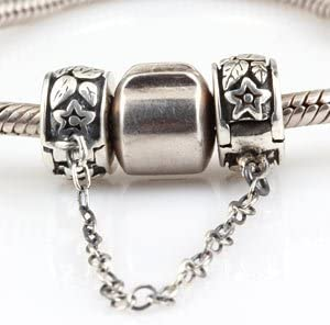 Hoobeads Clip Spacer Stoppers Clips Safety Chain Charms 925 Sterling Silver Clasp Safety Chain Stopper Charms Bead
