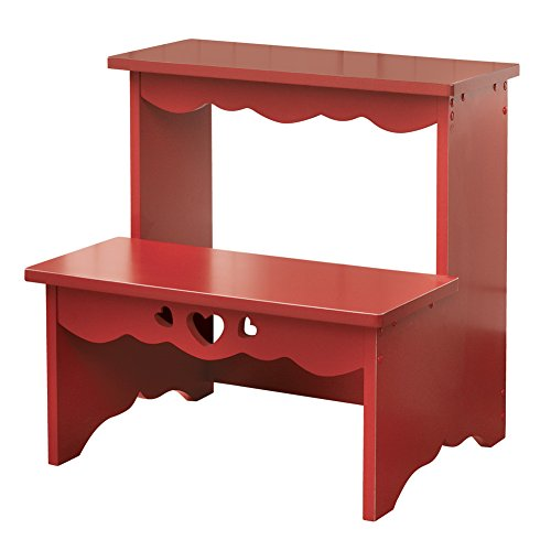 Collections Etc Country Red Wooden Step Stool with Delightful Heart-Shaped Cutouts and Scalloped Edges, Red