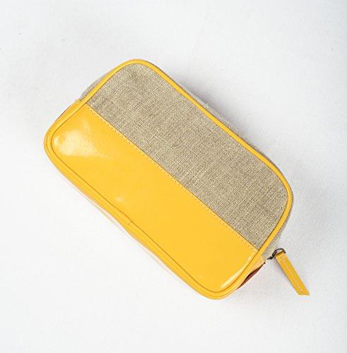 simili Voyage Cosmétique de toilette maquillage Cadeau Sac VLiving maquillage Trousse Jaune Lin de de Sac Sac cuir de aOq8xFg