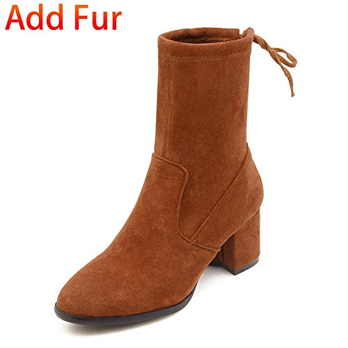 DETAIWIN Womens Mid Calf Boots Fur Lined Faux Suede Toe Drawstring Chunky Heels Slip On Winter Boots