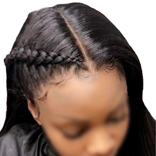 Straight Lace Front Human Hair Wigs Brazilian Hair Weave 360 Lace Frontal Wig Pre Plucked Natural Hairline Free Part Non Remy,Head Seam,18inches,Natural Color -