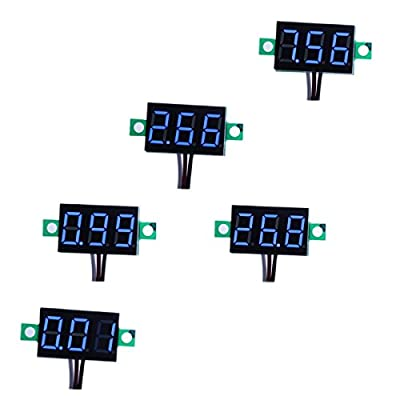 "bayite 3 Wire 0.36"" DC 0~30V Digital Voltmeter Gauge Tester Blue LED Display Panel Mount Car Motorcycle Battery Monitor Volt Voltage Meter with Reverse Polarity Protection Pack of 5"