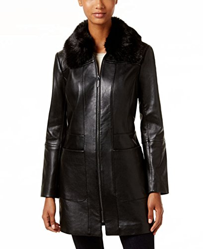 Walker Coat Leather (Anne Klein Faux-Fur-Collar Leather Walker Coat, Black, Medium)