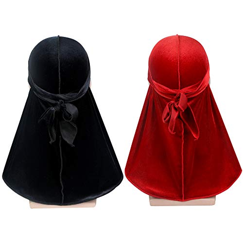 Premium Durag Cap Headwraps with Extra Long Tail and Wide Straps for 360 Waves 2PCS Velvet Men Durag