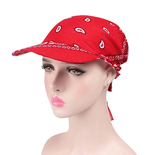 (WFeieig Women Vintage Cotton Flower Turban Cap Visor Retro Cap Brim Turban Baseball Hat Wrap Hat Sun Protection Visor Red)