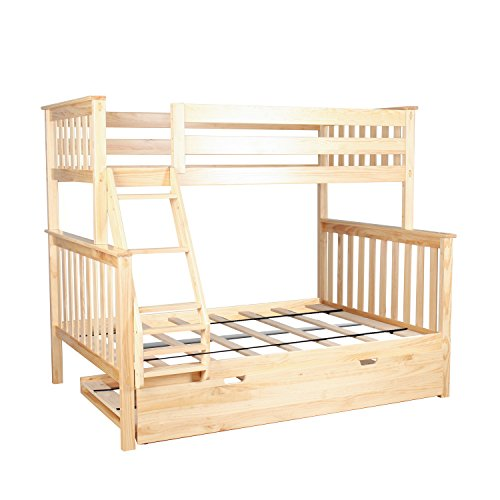 Max & Lily Solid Wood Twin over Full Bunk Bed with Trundle Bed, (Bedroom Pine Bunk Bed)