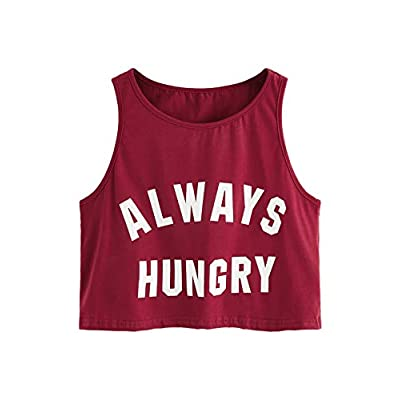 SweatyRocks Women's Summer Sleeveless Letter Print Casual Crop Tank Top Shirts: Clothing