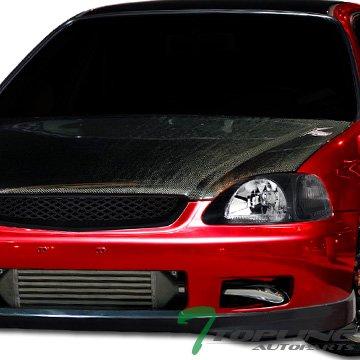 Topline Autopart JDM Black T-R Mesh Type Front Hood Bumper Grill Grille 96-98 Honda Civic EK EK9 (Front Hood Grill Type)