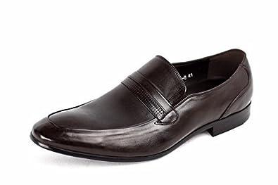 Hombres Zapatos de cuero Deslizante Vestido Boda Inteligente Oficina Formal Casual Mocasines Talla - Café, 43: Amazon.es: Zapatos y complementos
