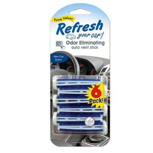 Refresh Your Car Odor Eliminating Auto Vent Stick Car and Home Air Freshener, New Car Scent, 6 Sticks