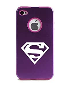 Superman Logo iPhone 4 Case iPhone 4S Case - MetalTouch Purple Aluminium Shell With Silicone Inner Protective Designer Case