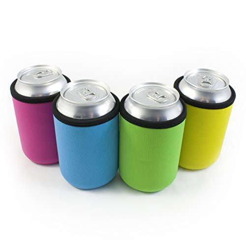 Beer Can Coolies - 4mm Thick - Easy-On SupercooliesTM - Premium Set of 4 Collapsible Can Sleeves - Pink, Green, Light Blue, Yellow - Extra Thick Neoprene with Stitched Fabric Edges