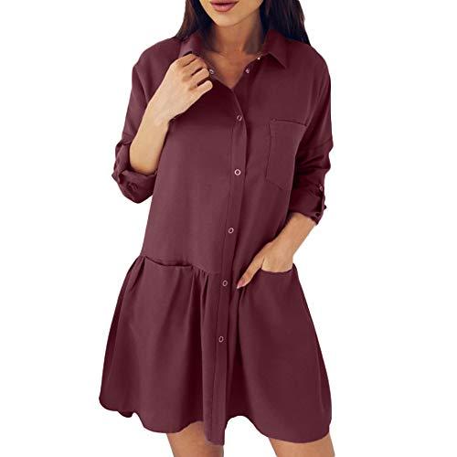 - Women's Fashion KIKOY Long Sleeve Autumn Casual Loose Solid Pocket Blouse Dress
