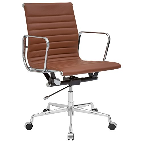 Poly and Bark Ribbed Office Chair with Italian Leather, Terracotta
