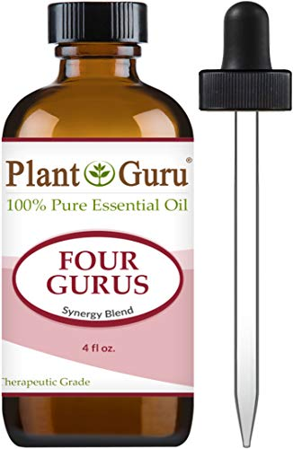 Four Gurus Essential Oil Blend 4 oz Bulk 100% Pure Natural Therapeutic Grade Blended with Clove, Cinnamon, Lemon, Rosemary Eucalyptus for Aromatherapy Diffuser and Immune Support