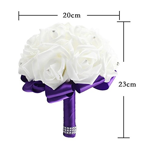 OurWarm® Purple Crystal Roses Pearl Bridal Bridesmaid Wedding Bouquet Artificial Silk Flowers with 1pcs Glue Stick