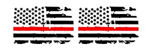 Distressed Thin Red Line American Flag Vinyl Decal Matte Black 2 Left
