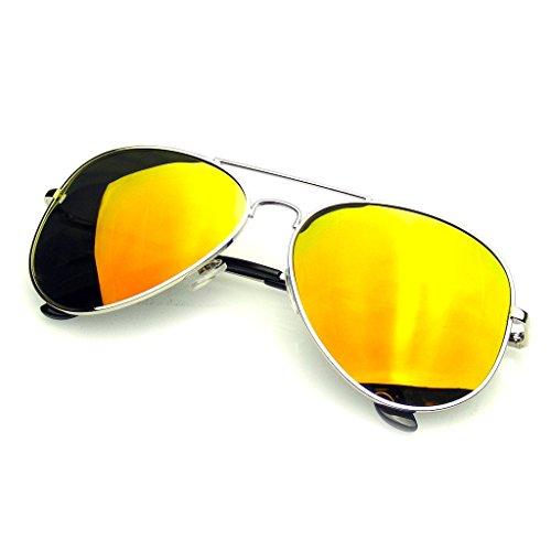 Hombres Retro Sol Emblem Moda Vintage Lente Gafas Aviador Rojo De Eyewear Plata De Espejo Marco Piloto Nuevo Mujeres Polarizada 7wB7zqf