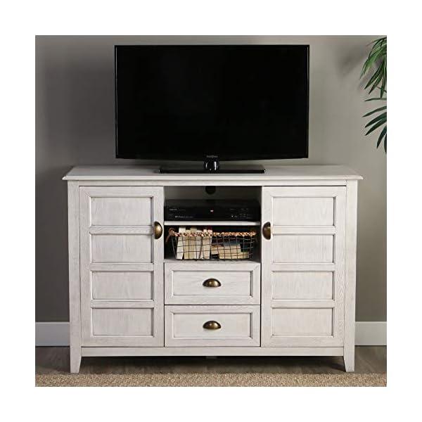 "Walker Edison Furniture 52"" Rustic Wood TV Console, White Wash"