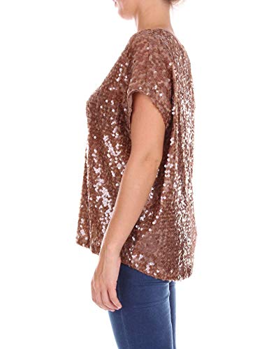T 012234160114brown Live Love Lentejuelas Marrón shirt Mujer Laugh 1qCttwZY